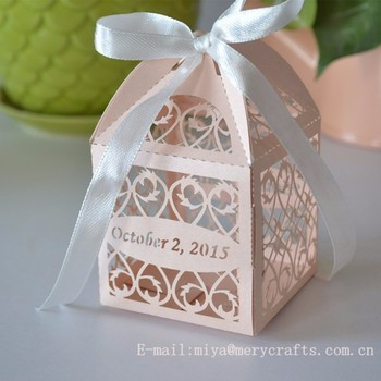 Laser Cut Filigree Favors Box For Wedding Peach Gift Bo With Satin Ribbons