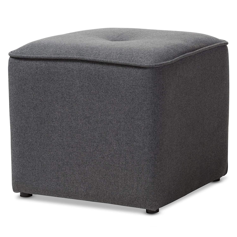"Baxton Studio Corinne Modern and Contemporary Dark Grey Fabric Upholstered Ottoman/Contemporary/Grey/Fabric Dacron 100%""/Eucalyptus Wood/HDF/Foam"