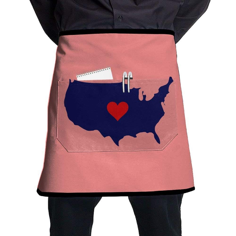 Bakers Apron, Cooking Salon Aprons With Pocket, Sexy Aprons For Women Waterproof Free Size, Kitchen Accessories, American Map Red Heart