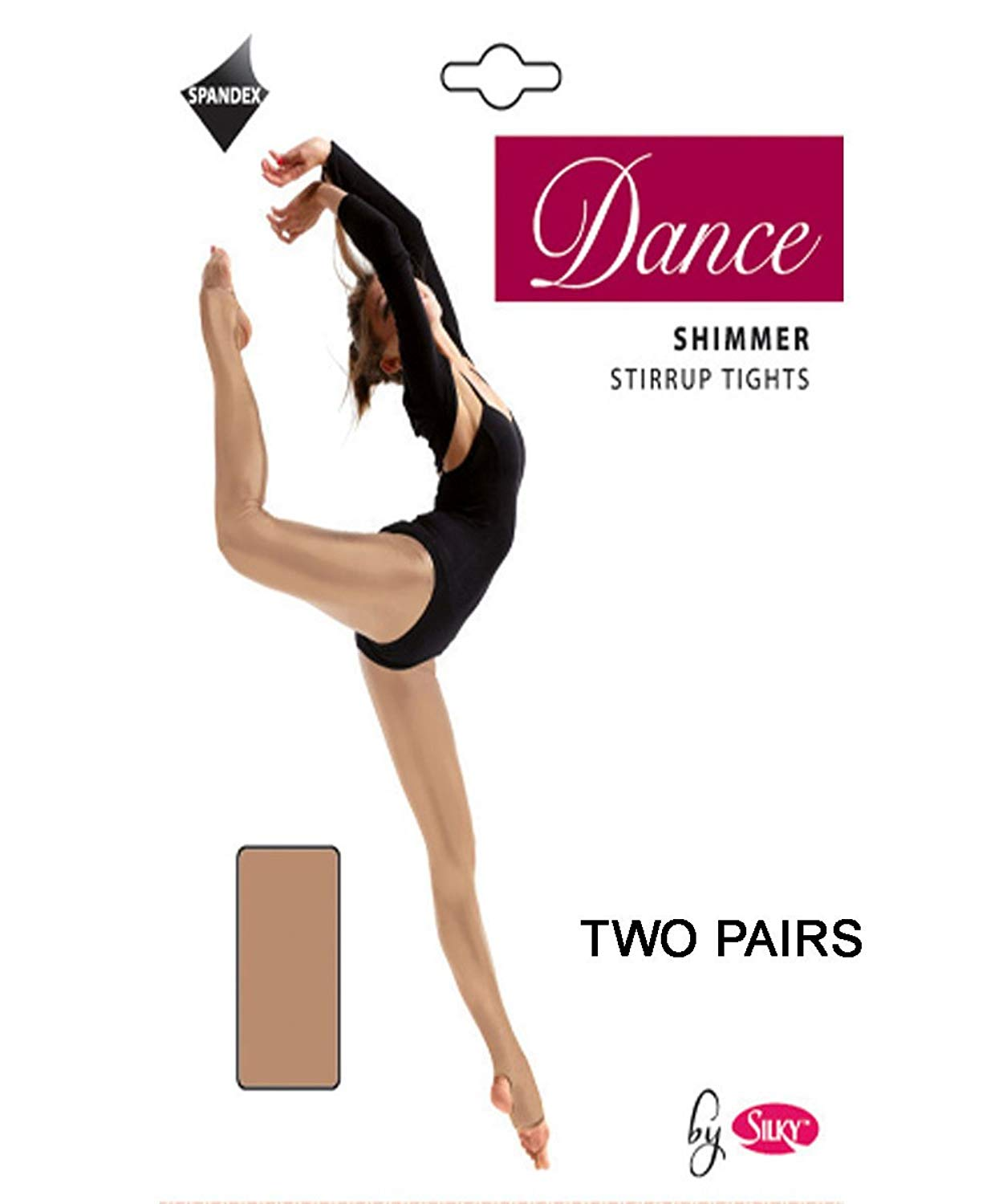 6e86f2781ab57 Get Quotations · Silky Big Girls'2 Pairs Stirrup Foot Shimmer Dance Ballet  Tights