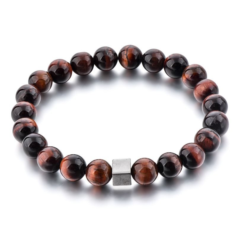 Longway High Quality Natural Stone <strong>Red</strong> <strong>Tiger</strong> <strong>Eye</strong> Stone Beaded Men <strong>Bracelet</strong>