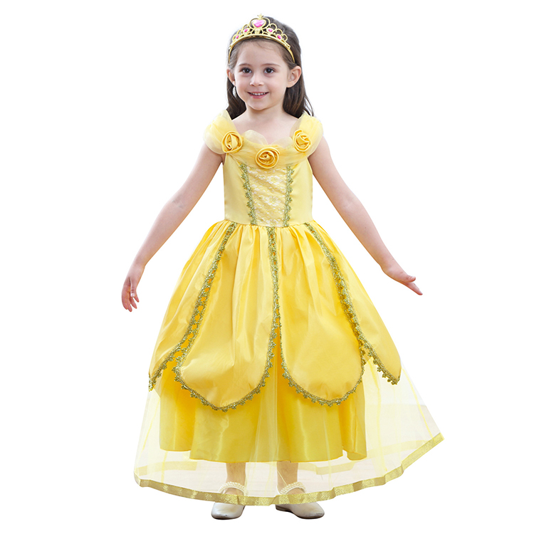 44cce1ffaf6adc Meisjes Prinses Belle Jurk Kinderen Bloemen Geel Party Cosplay Kostuum  Kinderen Meisje Carnaval Dress up Bal