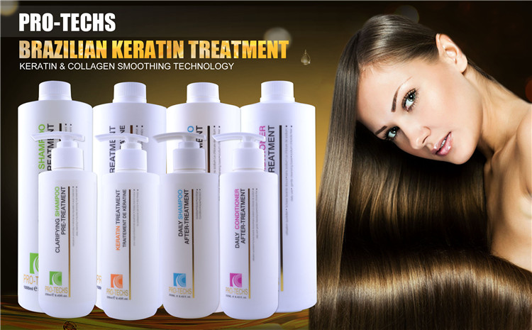 PRO-TECHS Innovative Brazilian Hair Organic Keratin Smoothing System Naturals Organic Hydrolyzed Keratin for Hair Treatment