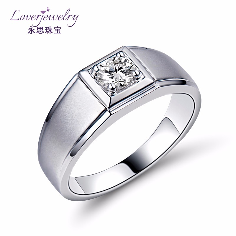 Men\'s Wedding Solitaire Rings Male Gold Ring With 0.3ct Diamonds ...