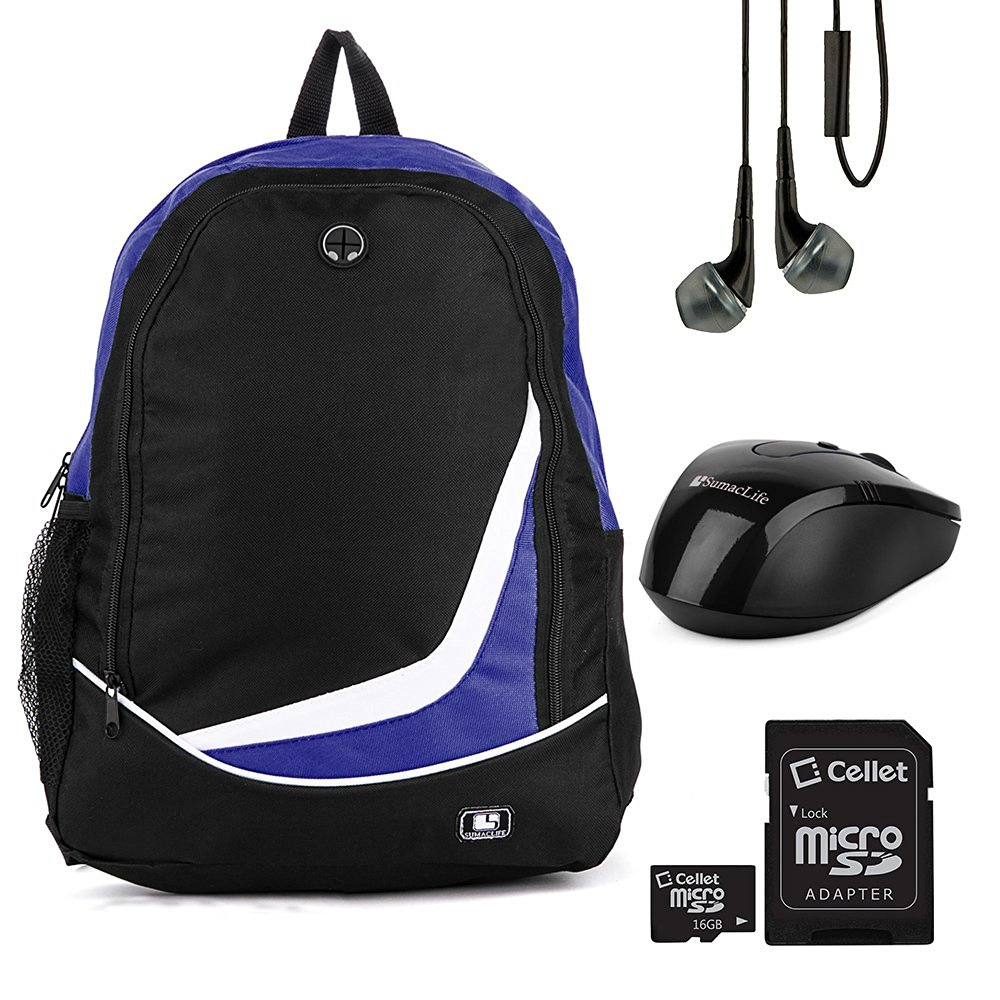 "SumacLife Nylon Camping Backpack Bookbag Tavel Bag (Blue) for HP 13.3"" to 15.6"" Laptop with USB Mouse & Earphone & 16GB Memory Card"
