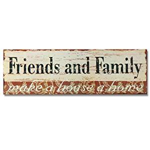 "Adeco Decorative Wood Wall Hanging Sign Plaque, ""Friends and Family"" Orange Black Beige Home Decor"