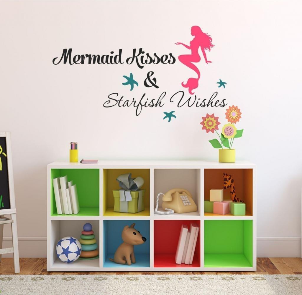 "Mermaid Kisses & Starfish Wishes Quote Vinyl Wall Decal, 36"" W by 14"" H,FREE 12"" NAME DECAL, Mermaid Kisses & Starfish Wishes Quote - Mermaid Decal, Mermaids, Vinyl Stickers, Girls Wall Decal V23"