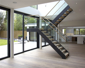 Professional Modern Stairs Grill Design Glass Railing Wood