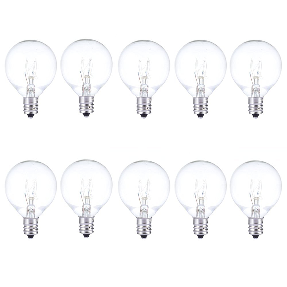 "Joyin® Pack of 10 Bulbs,Replacement Glass Bulbs for String Lights with G40 Clear Globe Bulbs(5W,Warm Incandescent,1.5"")"
