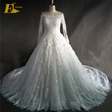 Custom Made Luxury Lace Appliqued Ball Gown Wedding Dress 2017 With Long Sleeve