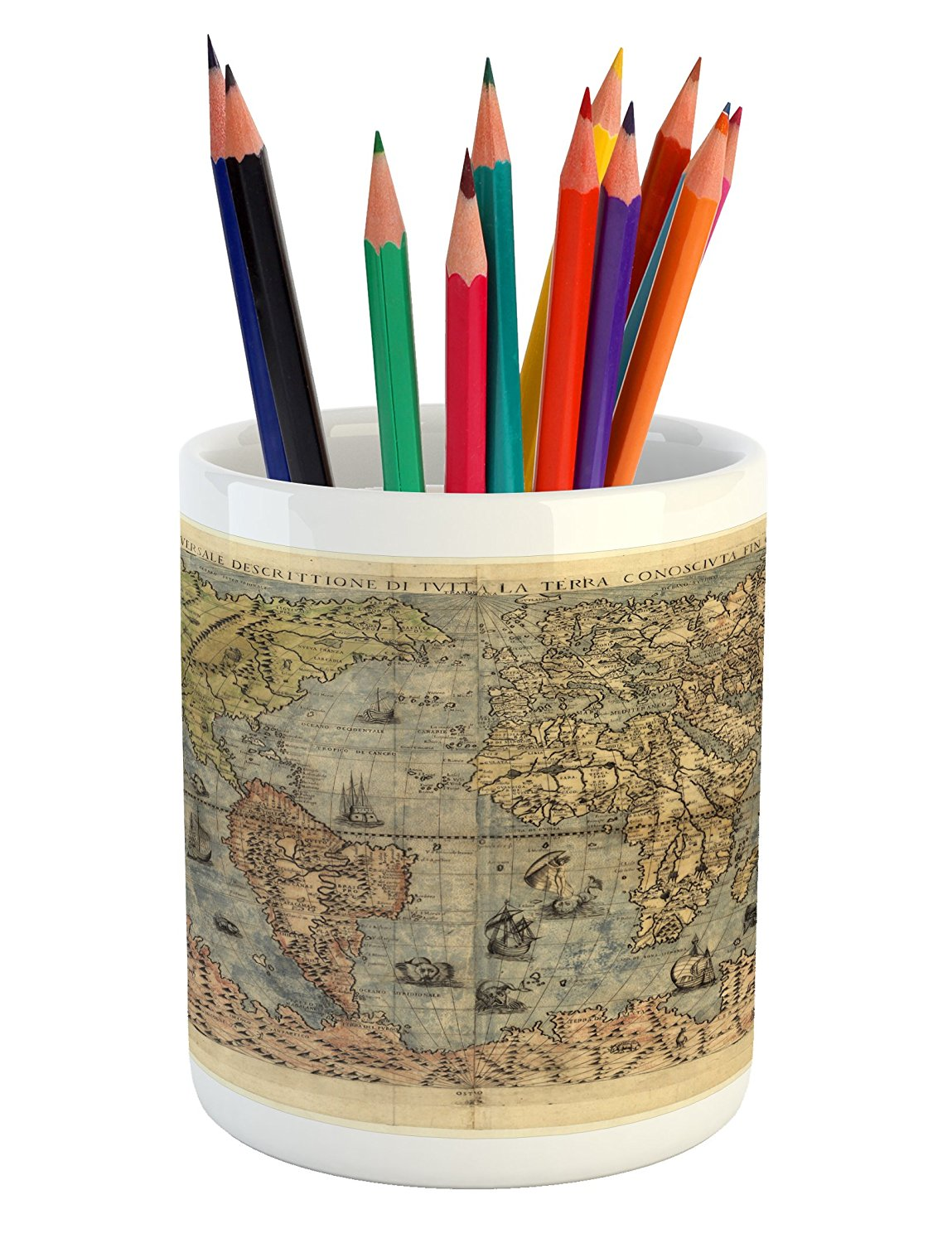 Antique Pencil Pen Holder by Lunarable, Ancient Map of World Global History Stained Paper Oceans Lands Vintage Atlas, Printed Ceramic Pencil Pen Holder for Desk Office Accessory, Cream Green Rose
