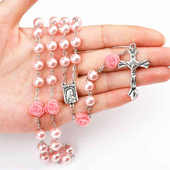 Pink flower glass pearls beaded Catholic Christian cross necklace