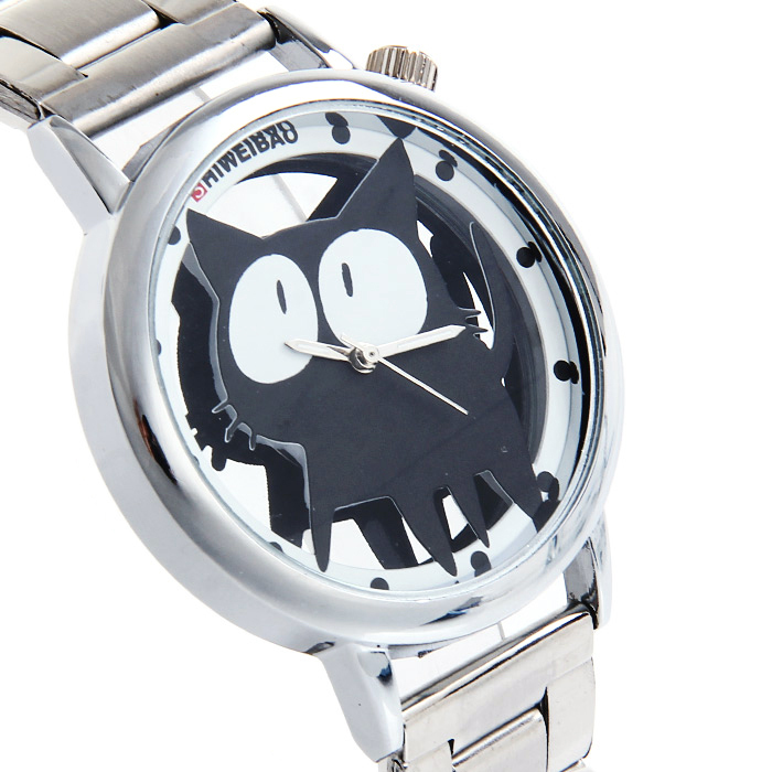 SHIWEIBAO Kids Stainless Steel Cartoon Watches Transparent PUSSY Dial Fashion Quartz Watch for Girls Montre Enfant Pour Fille