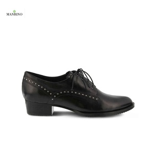 MANRINO-0168 Hand Made Real Leather Studs Decor Oxford Casual Unit Rubber Sole Lace Up Women Office Dress Shoes For Office Lady