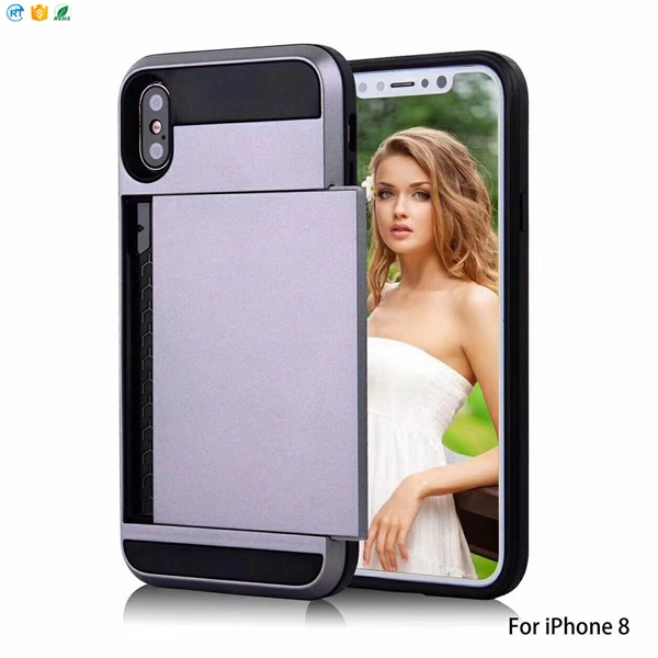 For iPhone 7 Armor Slide Credit Card Case Pocket Wallet Cell Phone Case