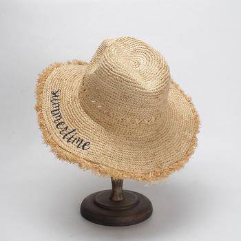 Senhora verão chapéu de praia palha panamá atacado monogrammed personalizado  ráfia ... 32f0dafc9d0