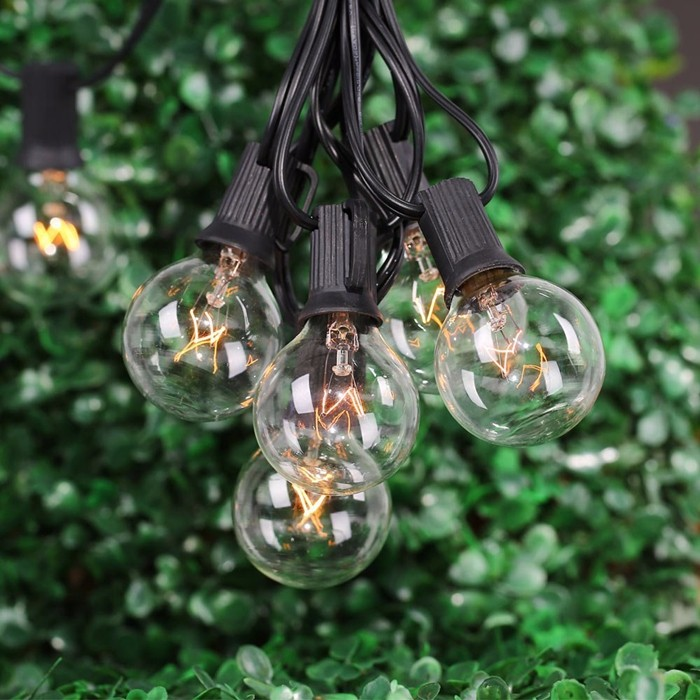 Cheap String Lights Indoor: Wholesale G40 String Lights With 25 G40 Clear Globe Bulbs