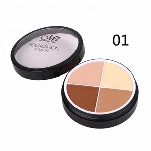 Foundation makeup 4 colored eyeshadow pallate cosmetics in case packaging