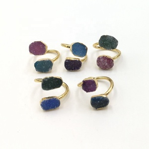 Fashion Agate Druzy Design Ring Wholesale Double Stone Rings Gold plated Two Agate Druzy Colors Geode Jewellery