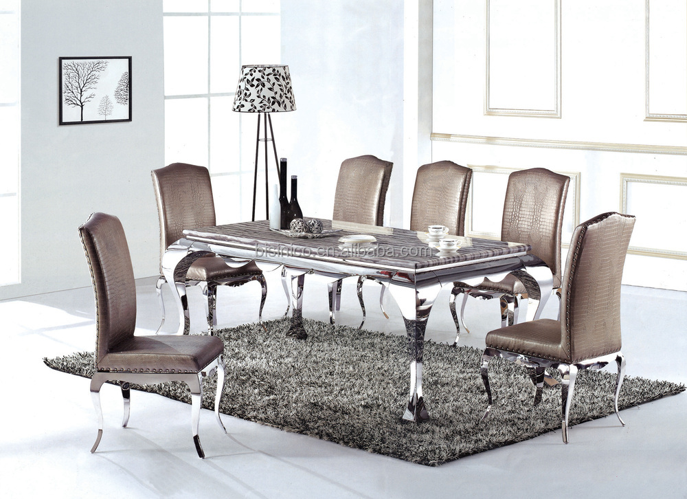 Champagne Gold 304 Stainless Steel Dining Table With Fabric Dining Chairs