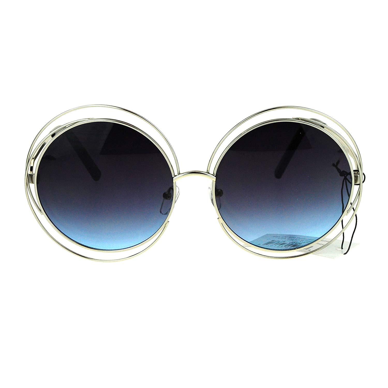508d4477fa Get Quotations · Avant Garde Double Circle Frame Round Designer Fashion  Retro Sunglasses