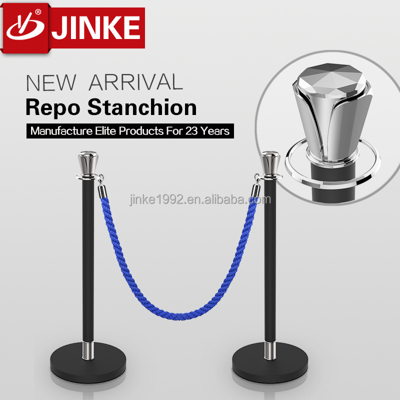 Jinke Elite Products Sliver Top Black Pole Velvet Rope Stanchion Post Queue Barrier Stand Exclusive Patent Manufacturer