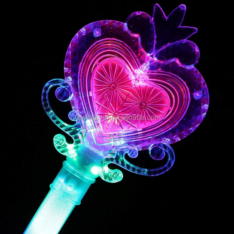 Hundred Power's Plastic Crown Fairy Wand Led Lights, Heart Princess Fairy Stick,Peach LED Glow Wand Cheering with Magic Ball