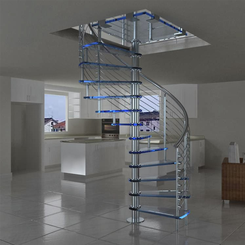 Prefabricated new design exterior stainless steel spiral - Spiral staircase exterior aluminum ...