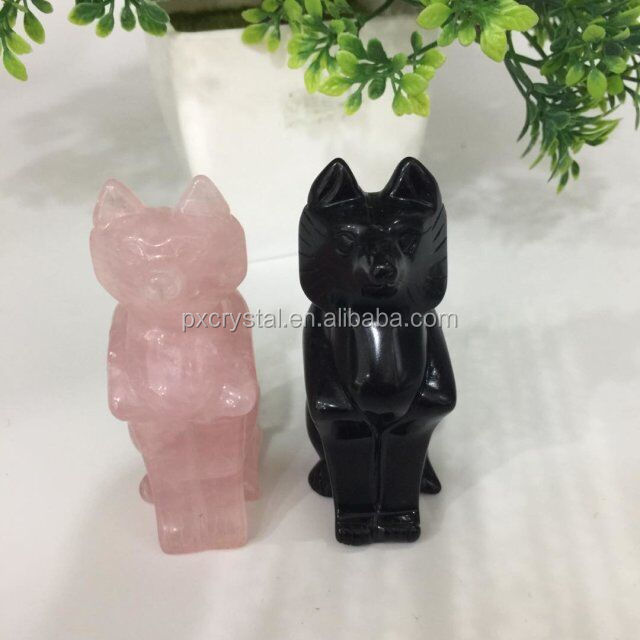 Natural rose crystal (obsidian crystal) fox shape hand carved animal figurines