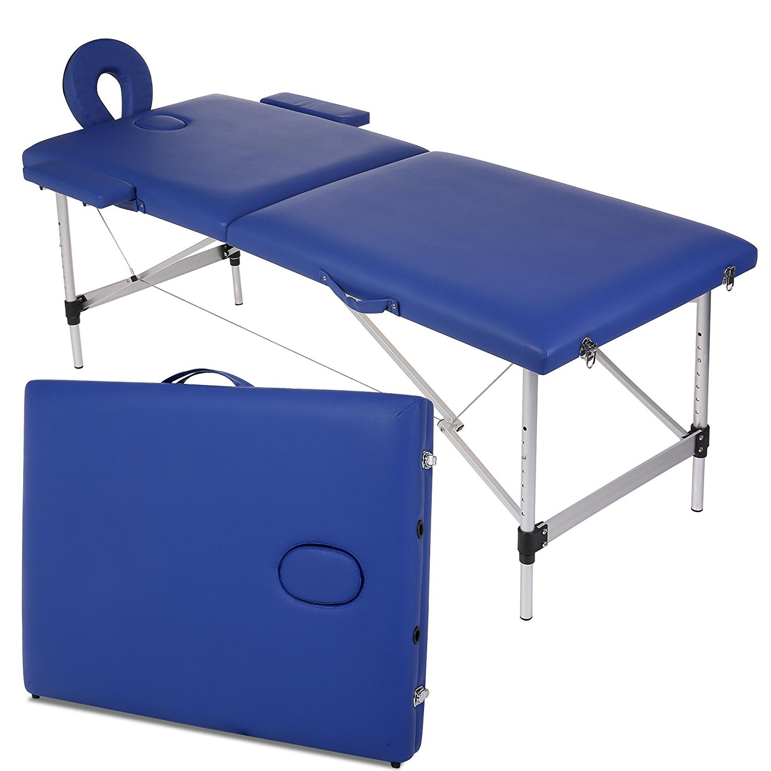 Portable Two-Fold Massage Table Adjustable Headrest Therapy Beauty Bed Couch Table Package Set for Spa Massage (Blue-Aluminum)
