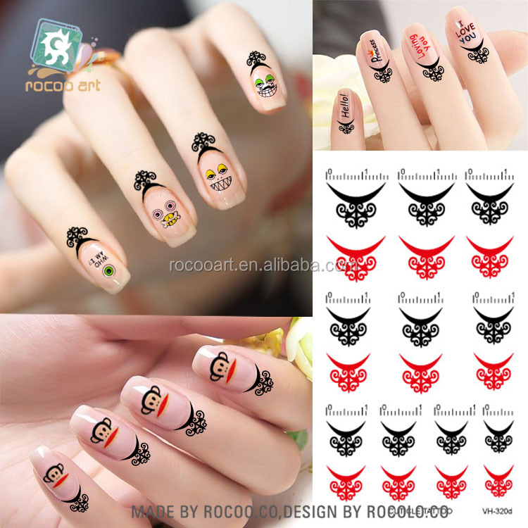 VH-320d/Beauty New Finger Mini Black With Red Water Transfer Temporary Cuticle Tattoo For Women