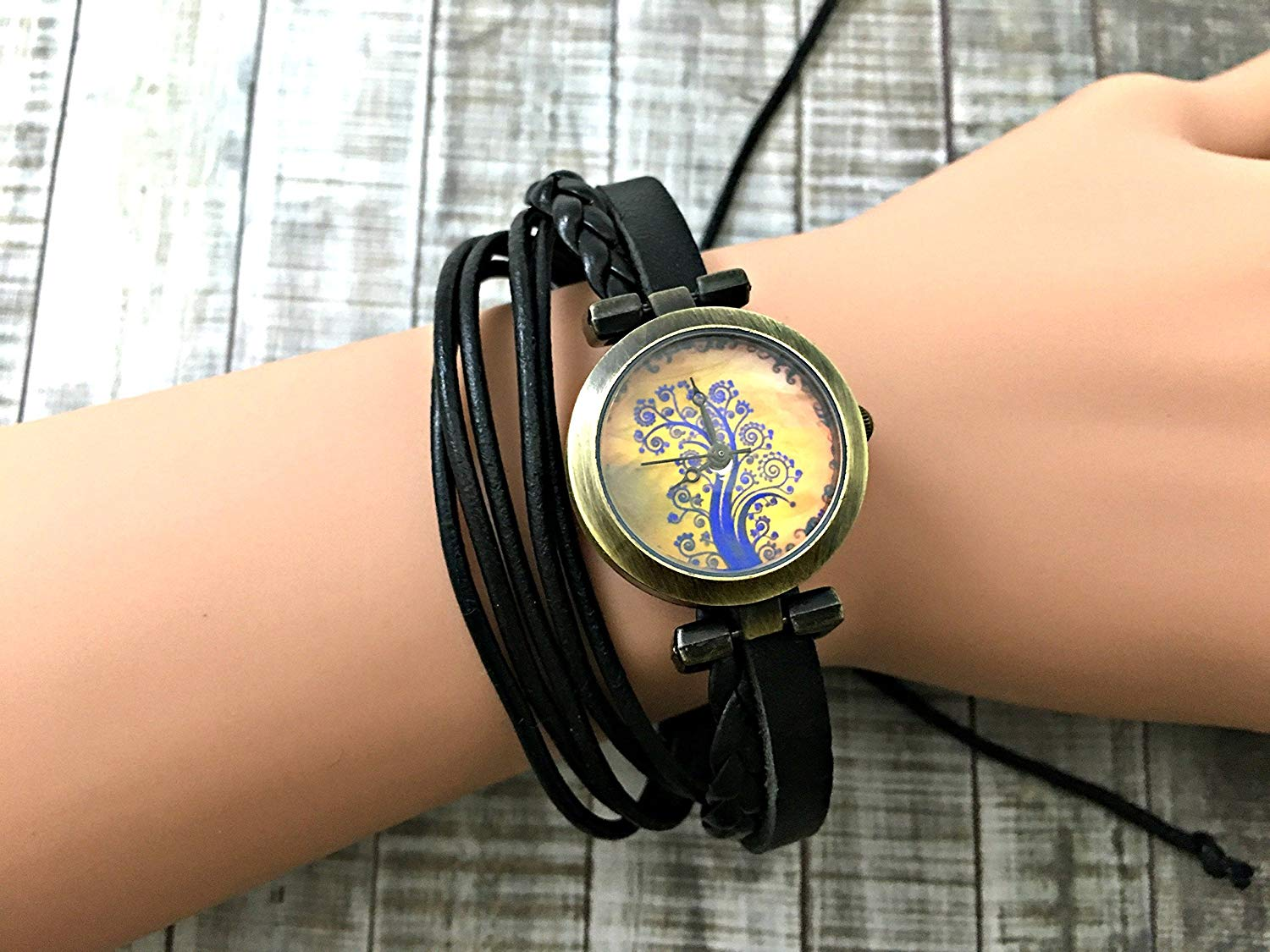 Tree Wrap Bracelet Leather Watch, Leather Wrap Bracelet Watch, Leather Wrap Art Watch, Vintage Retro Wrap Bracelet Watch, Wrap Genuine Leather Watch 011
