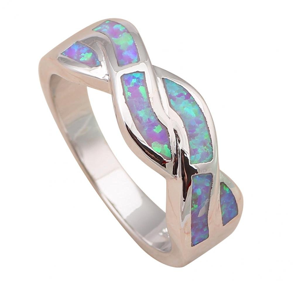 Bling Jewellry Attactive Light Purple Fire Opal 925 Silver Rings USA Size #6#6.5#7#7.5#8#9 Or681A