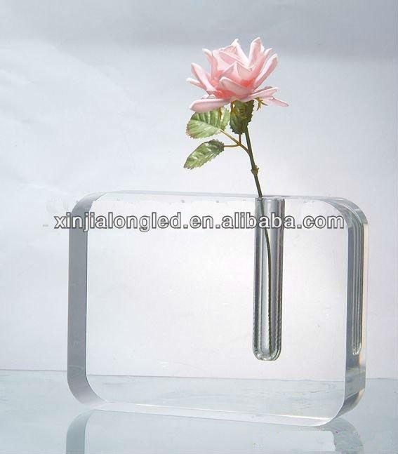 Acrylic Plastic Bud Vase Transparent Acrylic Block With Bud Vase