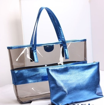 China Handbag Factory New Styles Metallic Transparent Pvc Beach Handbags Shoulder Bags Whole For Summer