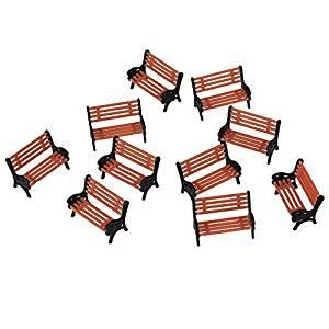 BQLZR Black and Orange Model Bench Chair 1:50 Scale Train Platform Garden Park Street Scenery Layout Pack of 10