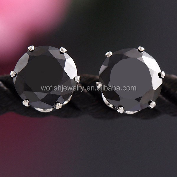 Silver black diamond stud earring for women