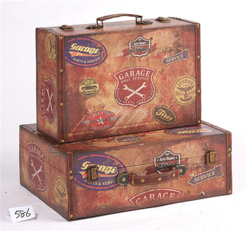 Small Wooden Leather Vintage Suitcase Storage Boxes With Handles