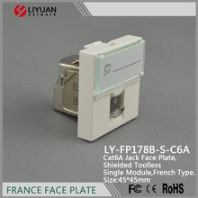LY-FP178B-S-C6A OEM French rj45 45*45 faceplate STP cat5e cat6A keystone jack