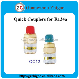 "1/4"" Male Flare Straight Quick Coupler QC12H for R134a Refrigeration"