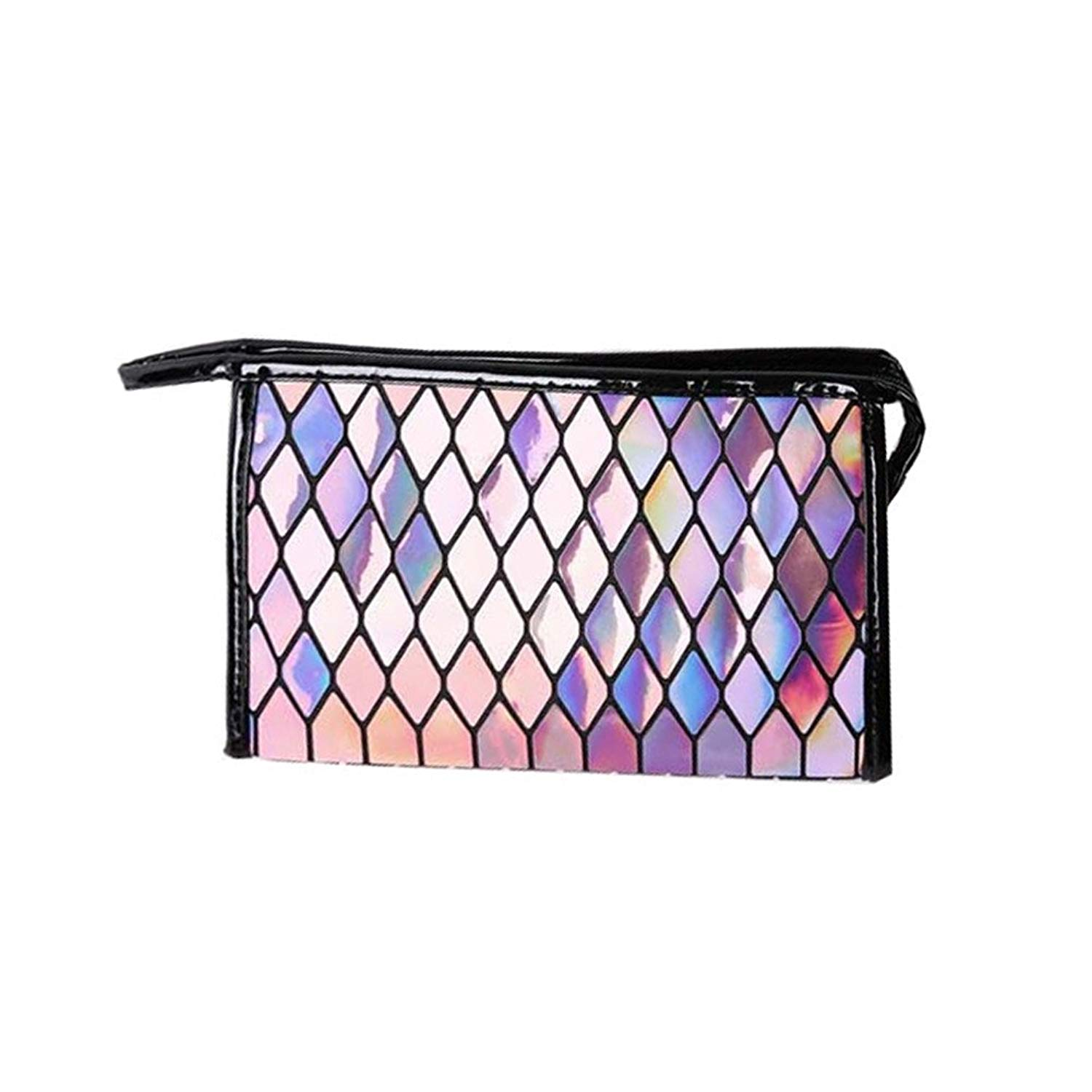 Andear Womens Holographic Laser Wallet Purse Geometry Pattern PU leather Cosmetic Makeup Bag Envelop Clutch