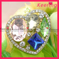 Fashion pink and blue crystal brooch with heart design WBR-1205
