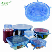 High Quality Flexible Food grade Stretch Silicone Lids 6pcs set Storage Container Lids