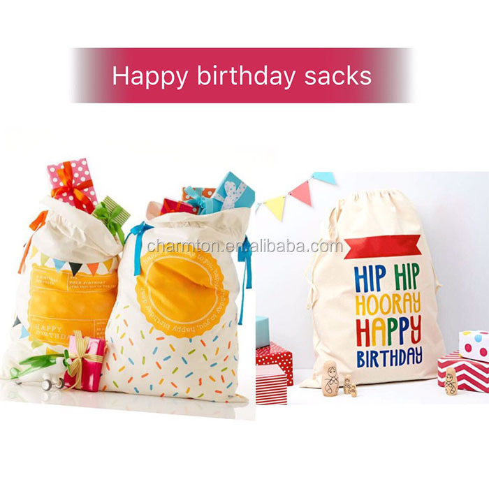 Wholesale Canvas Monogram Happy Birthday Sacks