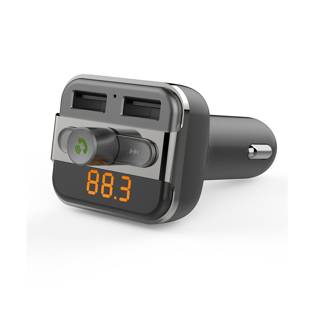 Wireless In-Car Bluetooth FM Transmitter Radio Adapter Car Kit with USB Car Charger by AZPEN