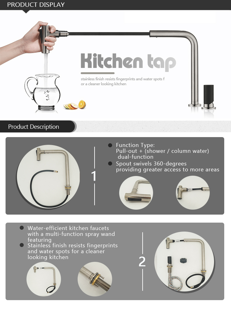Pull Down Out Flexible Hose 3 Way Usa Water Filter & Tap 3 Way PullアウトSpout 2穴Kitchen Sink Faucet