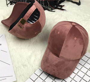 High Quality Winter Custom Embroidery Plain Velvet Hat Baseball Cap