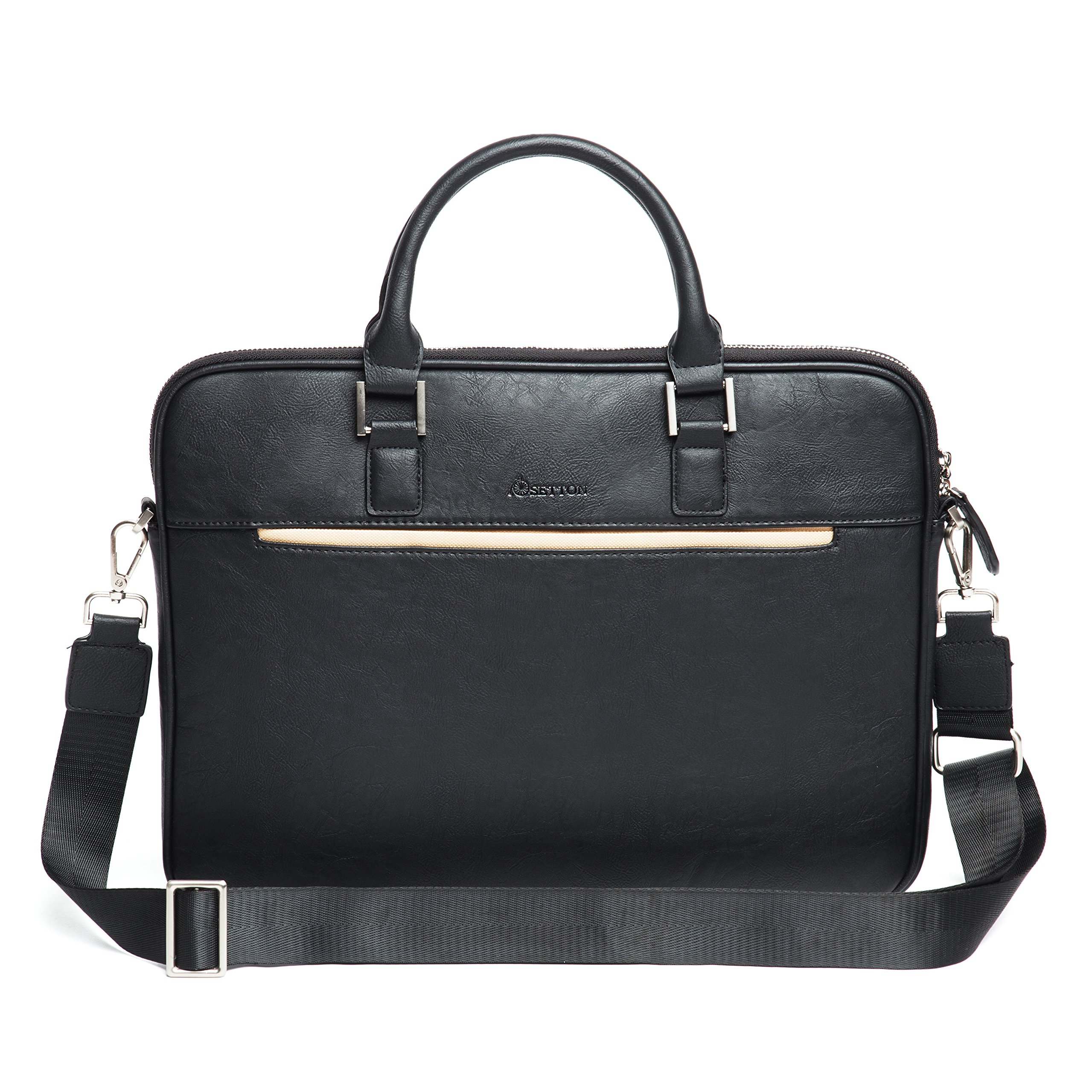 """Laptop Bag Briefcase Business Shoulder-Messenger - 13.3 Inch Slim Case, Travel for up 13"""" Computer - Notebook/ MacBook Air - Pro / iPad Pro 12.9/ Dell xps 13/ Tablet For Men by SettonBrothers -Black"""