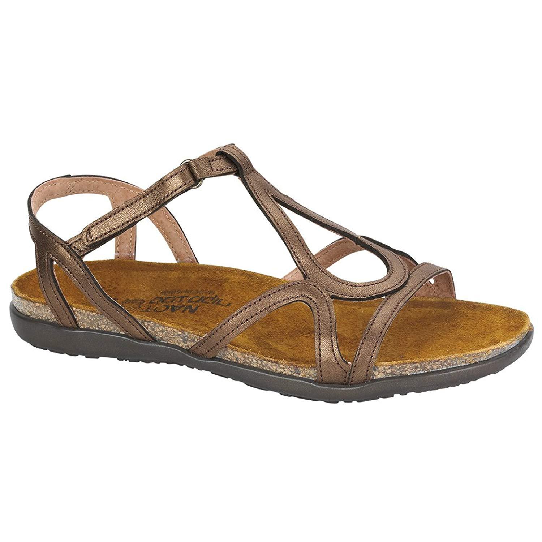 NAOT Dorith Flat Elegant Women Sandals, Grecian Gold Leather,Size - 41