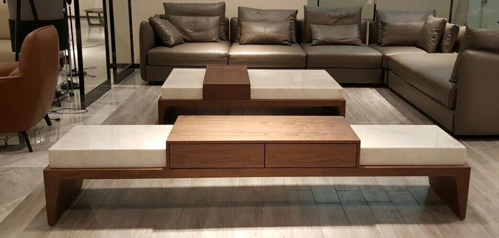 Living room marble center table modern wood coffee table